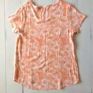 DownEast Tops - NWT Orange Yellow Floral Short Sleeve Shirt